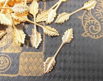 34mm VINTAGE Fold Over LEAF Bails Gold Leaf Bails Twenty (20) 34mm Fold Over Leaf Bails Vintage Jewelry Findings Supplies (T166)