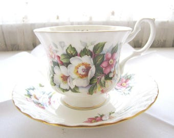 Vintage English Bone China Royal Albert Teacup and Saucer Summertime Series Woodborough from AllieEtCie