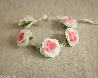 Baby Headband, Baby Crown, Ivory Pink Rose Flower Crown, Baby Crown, Baby Halo, Eco Newborn Headband, Newborn Props, Natural Props