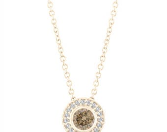 ON SALE Fancy Champagne Brown Diamond Pendant Necklace 14K Yellow Gold 0.45 Carat Halo Bezel And Micro Pave Set Handmade