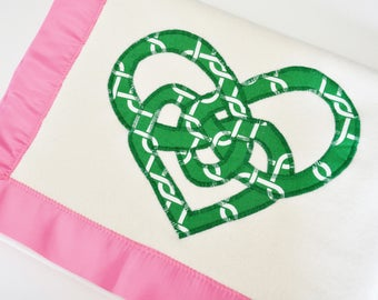 Organic Baby Girl Blanket with Celtic Knot Hearts -- Pink and Green