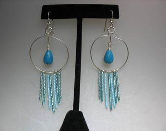 Faceted Turquoise Gem Drop and Delica Seed Bead Dangle Earrings on Sterling Silver Wire