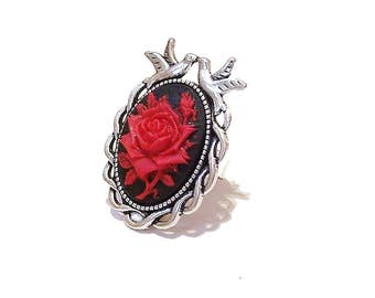 Antique Silver-Tone Filigree Bird Ring w Rose Cameo - Black/Red