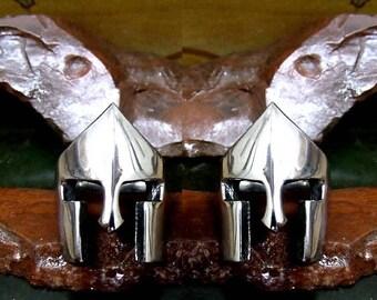 Greek Hoplite Battle Helmet Cufflinks  Sterling Silver Free Domestic Shipping
