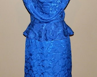 1970's SYNONYM Satin Secretary Peplum Dress Bust 34