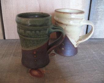Pair of Mugs, Cups 8 ounces, hand thrown stoneware by Jennie Blair