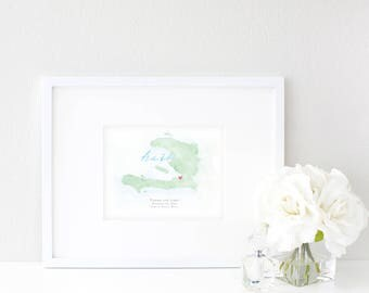 Haiti Watercolor Map | Destination Map Print | Personalized Watercolor Map | Honeymoon Map | Anniversary Map | Watercolor Wedding Map