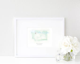 Washington Watercolor Map | Destination Map Print | Personalized Watercolor Map | Honeymoon Map | Anniversary Map | Watercolor Wedding Map