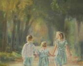 Custom Order, Custom Portrait, Children walking through forest, Children's Portrait, Original oil, Final Payment