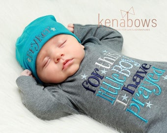 Newborn Baby Gown: Grey Infant Boy Gown, For This Little Boy I Have Prayed, New Baby Shower Gift, Personalized Beanie Hat READY to SHIP