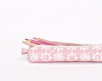 Pink Batik Pencil Case, Zipper Cotton Pencil Case, Small Pouch, Box Pencilcase