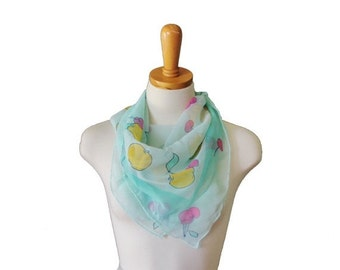 50% half off sale // Vintage 70s Fruit Scarf - Seafoam Green, Sheer, Cherries and Apples
