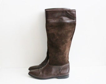 50% half off sale // Vintage 80s Riding Boots by Nina - Brown 2 Tone Leather - Women 7B