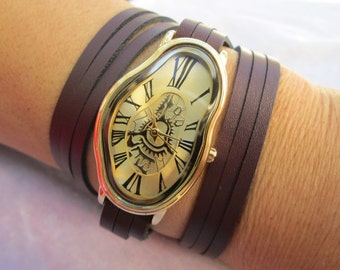 Salvador Dali Inspired Woman's Leather Banded Wrist Watch ,Wrap Bracelet Band,Standard Wrist Band,Roman Numerals watch,women leather watches