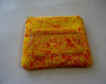 Yellow Batik Zipper Change Purse