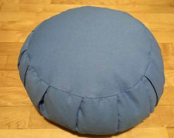 Meditation cushion out of a Sky Blue cotton twill fabric and filled with buckwheat hulls