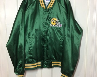 1980's Wisconsin Green Bay Packers Football Team Chalkline Bomber Satin Jacket logo Patch size XL NFL