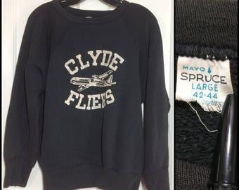 1960s black Clyde Fliers high school team Sweatshirt size large Mayo Spruce brand flock fuzzy print Airplane flat stitch long cuffs