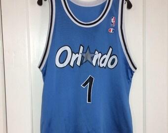 1990's Penny Hardaway number 1 Orlando Magic NBA Basketball team blue Champion brand Jersey Tank size 44 made in USA