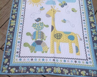 Sweet Jungle Baby 35x43 baby quilt in yellow, green, blue and gray