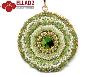 Tutorial Agra Pendant - Beading Tutorial, Beading Pattern, Ellad2, Instant download