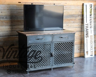 TV Lift Cabinet / Vintage Industrial Console/ Popup Hidden LCD Console