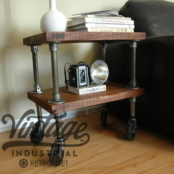 Vintage French Industrial Inspired Side Table on Casters - mid century modern