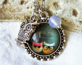 Sweet Owl Couple - I love you to the moon and back -  Necklace for Sweetheart - Couple of Owls - Moonstone accent -C 11-13