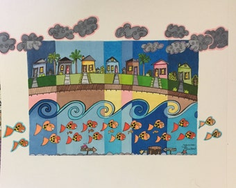 Original ink drawing, houses by the sea, fish, clouds, boardwalk, colorful ink drawing, whimsical art, smiling fish, treasure