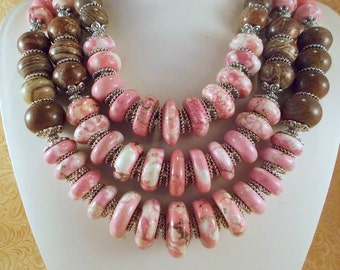 Statement Necklace Set - Pink Howlite - Brown Casilica - Rose Quartz - Tribal - Gypsy - Cowgirl