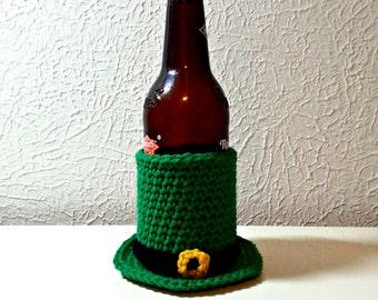 Leprechaun Hat Crochet Bottle Holder, Green Hat Cozy St. Patrick's Day Party Accessory