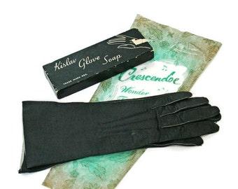 "Vintage Gloves / Black Leather ""Like"" Size 6 1/2"" / Photography or Stage Prop / Crescendoe Wonder Fabric / Glovers Guild 1960's"