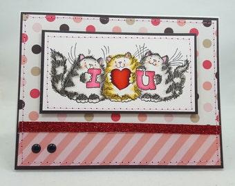 I Love You Kittens - Blank NoteCard, Greetings Card, Handmade Card, Hand sewn