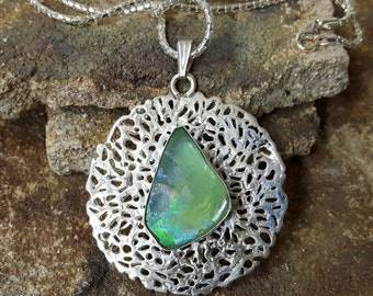 925 Sterling Silver Green Ancient Roman Glass Pendant Necklace