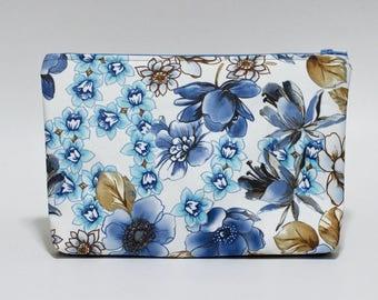 Blue Floral Makeup Bag Waterproof Brown Blue Lined Clutch Purse