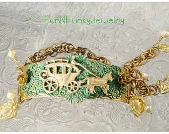 Horse and Carriage Brass Stamping Bracelet, Vintage Look, Patina
