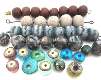 destash jewelry supplies vintage crystal Roman glass distressed  bead caps brass bells