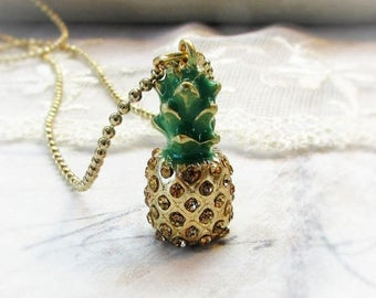 ON SALE Rhinestone Pineapple,Pineapple with gold rhinestones and Green Enamel Stem Charm Necklace by Hollywood Hillbilly