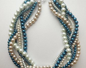 Navy blue champagne white pearl statement chunky braided twisted necklace