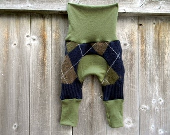 NEWBORN  Upcycled Wool Maxaloones Longies Soaker Cover Diaper Cover  Navy/Green/Brown Argyle Pattern & Green NEWBORN 0-6M