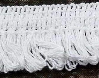 Cotton brush fringe white for decor, accessories, couture, home furnishing 50 yards wholesale