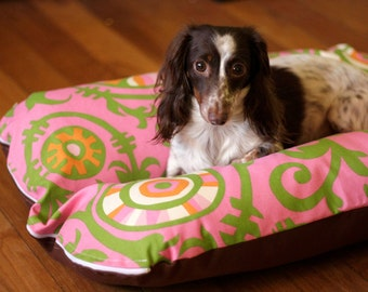 Dog Bed, Dog Burrow Bed, Dachshund Dog Bed, Bun Bed, - The Ominous Cloud - Pink Green Vines Tropical Hothouse Bunbed