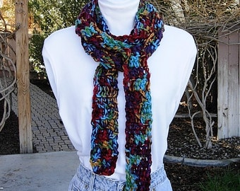 Colorful Extra Long Skinny Scarf, Red Burgundy Gold Green Purple Turquoise, Soft Thick Handmade Crochet Knit Narrow, Ready to Ship in 2 Days