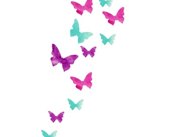 watercolors Wall Decal Butterfly theme perfect to add a cute touch in a nursery fabric re usable material SALE 12 pieces