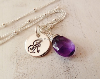 Amethyst necklace Personalized Initial. Any 1 birthstone. Gold or Silver. Amethyst jewelry. February birthstone. Aquarius gift. Amethyst.