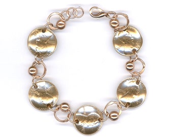 1942 Penny Coin Beaded Bracelet 75th Birthday Gift Jewelry 1942 75th Gift Ideas Women