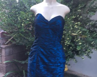 vintage  1980s BB collection 2 piece  size 10 royal navy blue accetate dress