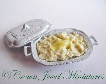 1:12 Holiday Whipped Potatoes In Covered Serving Dish by IGMA Artisan Robin Brady-Boxwell - Crown Jewel Miniatures