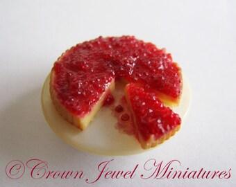 1:12 Raspberry Topped Cheesecake Tart by IGMA Artisan Robin Brady-Boxwell - Crown Jewel Miniatures