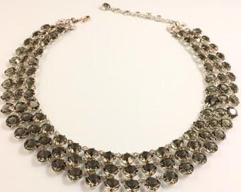 Rhinestone Necklace, Vintage Jewelry, Rhinestone Choker Necklace, Vintage Necklace, Gray Rhinestone Jewelry, Open Set Smoke Colored Stones